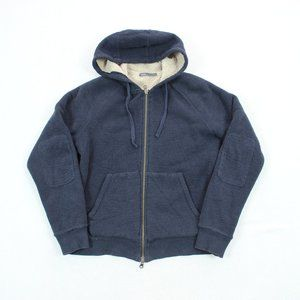 Vince Elbow Patch Waffle Knit Sherpa Fleece Hoodie